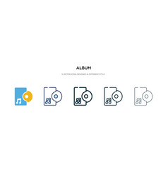 album icon in different style two colored vector image