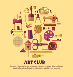 Art club craft tools or materials handmade product vector