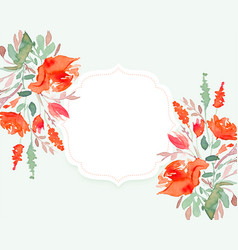 Beautiful watercolor flower background with text vector