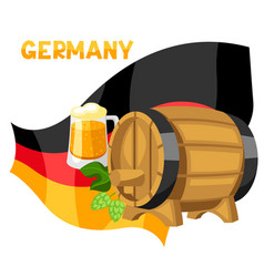 beer and barrel on flag germany vector image