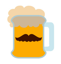 Beer with a mustache icon vector