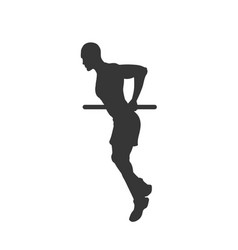 Black silhouette pull-up man horizontal bar vector