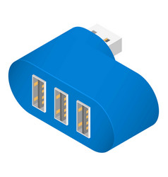 Blue usb hub icon isometric style vector
