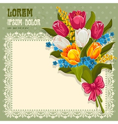 Bouquet spring flowers vector