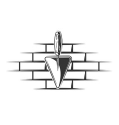 brick wall and trowel in vintage style isolated vector image