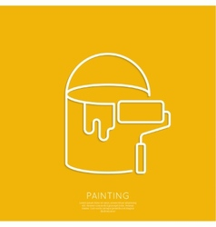 Bucket of paint and roller vector image