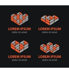 Building blocks logo set abstract vector