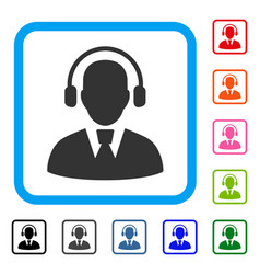 call center operator framed icon vector image