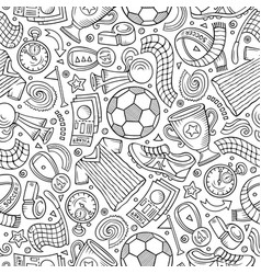 Cartoon hand-drawn soccer seamless pattern vector