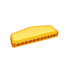 cartoon of golden harmonica small vector image