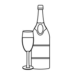 champagne bottle and cup vector image