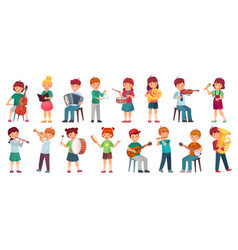 Children orchestra play music child playing vector
