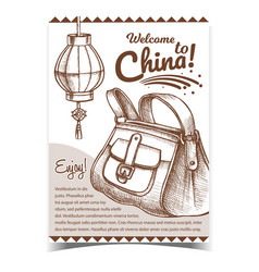 China lantern and hand luggage bag banner vector