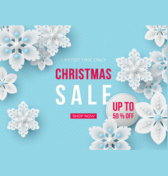 christmas sale banner with decorative snowflakes vector image