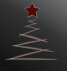 Christmas tree paper cut lines vector image