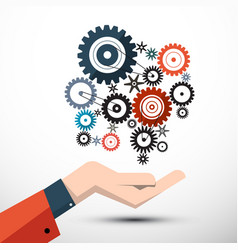 cogs with hand - gears symbol vector image