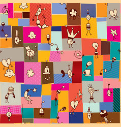 Collage and cartoon characters doodles seamless pa vector