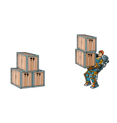 container loading a man works in the exoskeleton vector image