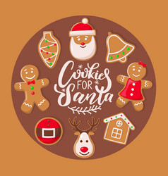 cookie for santa claus poster christmas sweets vector image