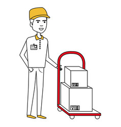 Courier worker with car handle avatar character vector