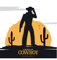 Cowboy banner wild west and rodeo with horse vector