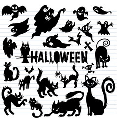 Creepy halloween ghost and black cat silhouettes vector