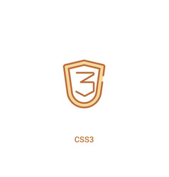 Css3 concept 2 colored icon simple line element vector