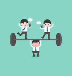 Cute businessman try to weigh lifting barbell one vector