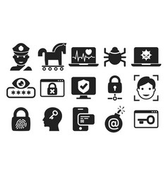 Cyber security and threat icons set 03 in bw vector