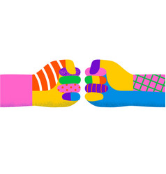 Diverse colorful people hand fist bump isolated vector