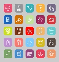 Diy tool line flat icons vector