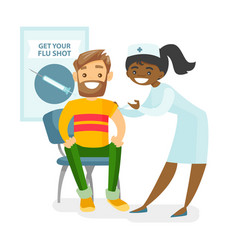 Doctor giving a free flu vaccination to a patient vector