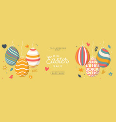 easter egg sale horizontal banner easter card vector image