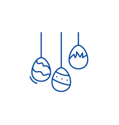 easter eggs line icon concept easter eggs flat vector image