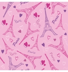 Eifel Tower Paris Love Pink Purple Drawing vector
