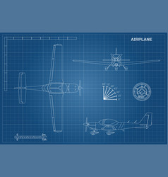 Engineering blueprint of plane sport airplane vector