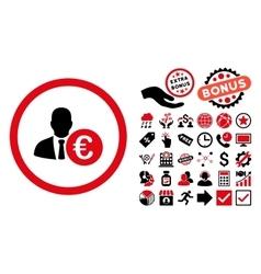 Euro Banker Flat Icon with Bonus vector image vector image