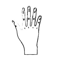 Figure nice hand with all fingers and nails vector