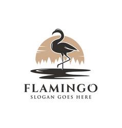 flamingo and sunset landscape logo icon vector image