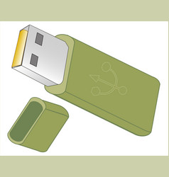 Flash drive on white background vector