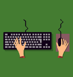 Flat keyboard and mouse hand typing vector