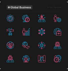 Global business thin line icons set vector