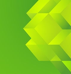 Green cube on green background vector
