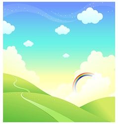Green mountain rainbow vector