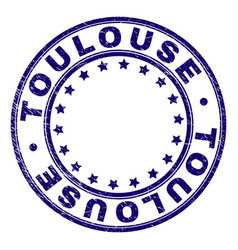 Grunge textured toulouse round stamp seal vector