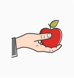 hand hold apple male hand holding red apple vector image