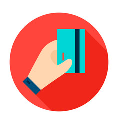 hand holding card circle icon vector image
