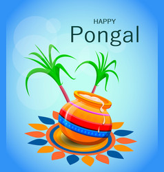 happy pongal greeting card on blue background vector image