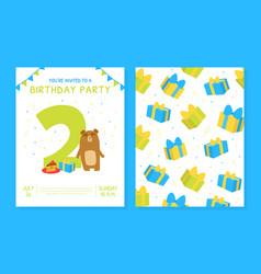 happy second birthday invitation card template vector image