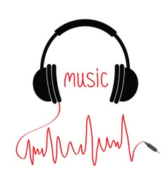 Headphones with red cord in shape cardiogram vector
